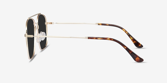 Roadtrip Golden Metal Sunglass Frames from EyeBuyDirect, Side View