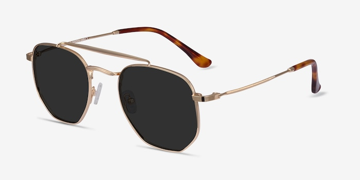 Venture Golden Metal Sunglass Frames from EyeBuyDirect, Angle View