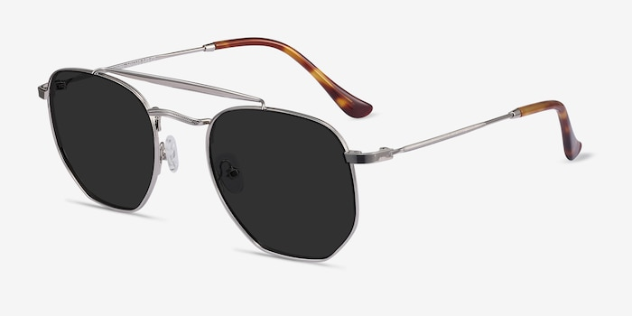 Venture Silver Metal Sunglass Frames from EyeBuyDirect, Angle View