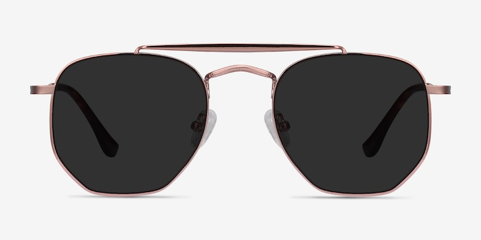 Venture Rose Gold Metal Sunglass Frames from EyeBuyDirect, Front View