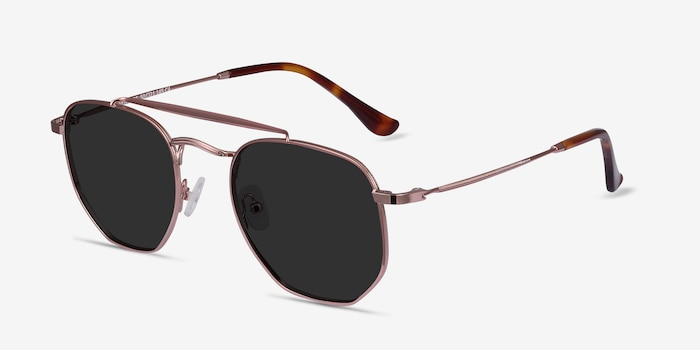 Venture Rose Gold Metal Sunglass Frames from EyeBuyDirect, Angle View