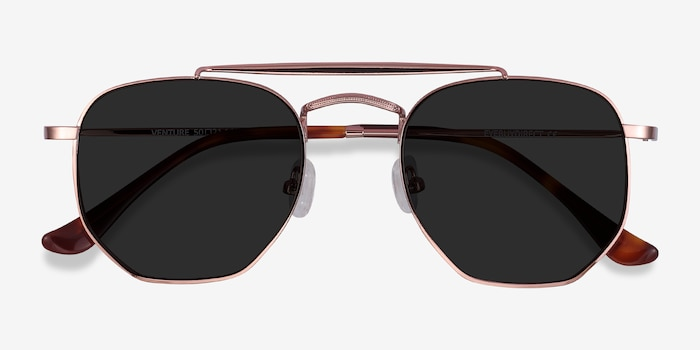 Venture Rose Gold Metal Sunglass Frames from EyeBuyDirect, Closed View