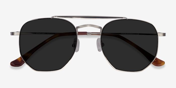 Venture Silver Metal Sunglass Frames from EyeBuyDirect, Closed View