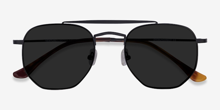 Venture Black Metal Sunglass Frames from EyeBuyDirect, Closed View