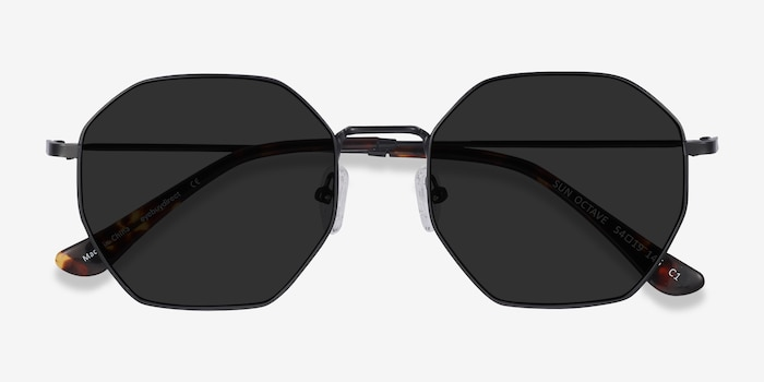 Sun Octave Black Metal Sunglass Frames from EyeBuyDirect, Closed View