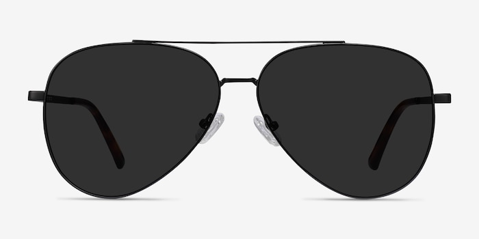 Flier Black Metal Sunglass Frames from EyeBuyDirect, Front View