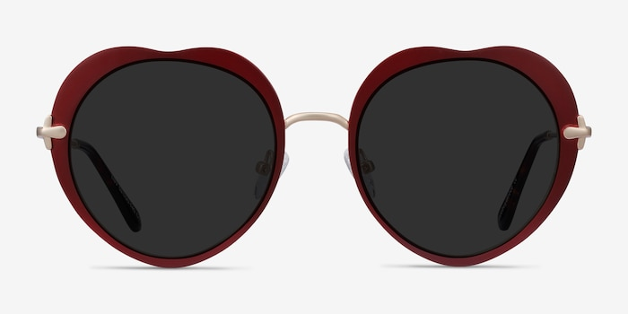 Luv Burgundy Metal Sunglass Frames from EyeBuyDirect, Front View