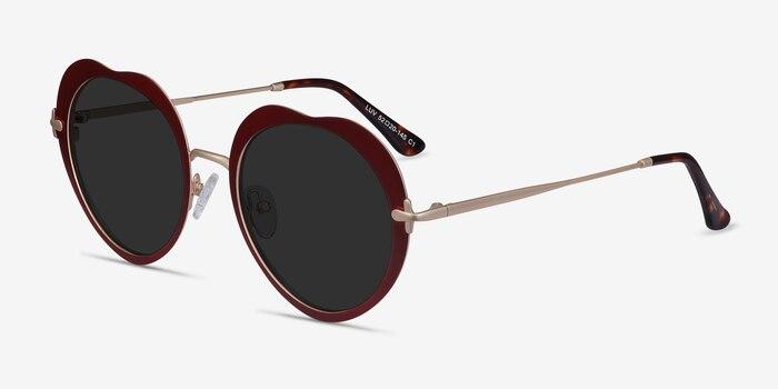 Luv Burgundy Metal Sunglass Frames from EyeBuyDirect, Angle View