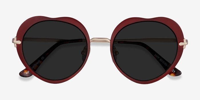 Luv Burgundy Metal Sunglass Frames from EyeBuyDirect, Closed View