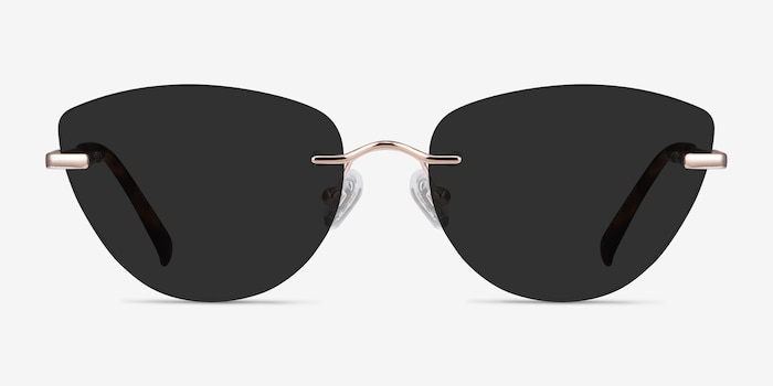 Linger Rose Gold Metal Sunglass Frames from EyeBuyDirect, Front View