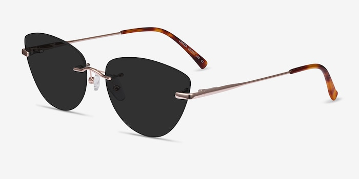 Linger Rose Gold Metal Sunglass Frames from EyeBuyDirect, Angle View