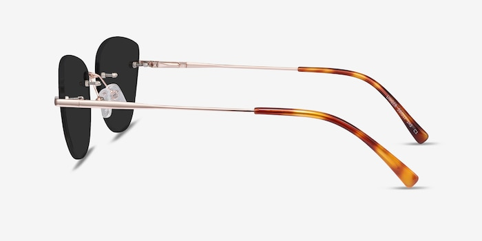 Linger Rose Gold Metal Sunglass Frames from EyeBuyDirect, Side View