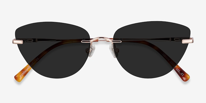Linger Rose Gold Metal Sunglass Frames from EyeBuyDirect, Closed View