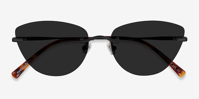 Linger Black Metal Sunglass Frames from EyeBuyDirect, Closed View