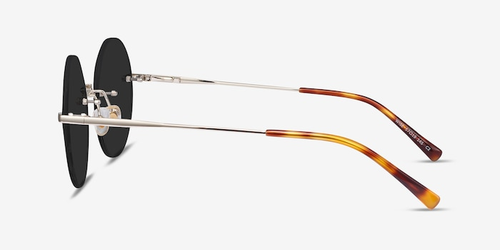 Wise Gold Metal Sunglass Frames from EyeBuyDirect, Side View