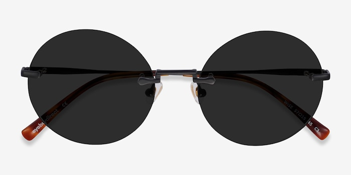 Wise Black Metal Sunglass Frames from EyeBuyDirect, Closed View