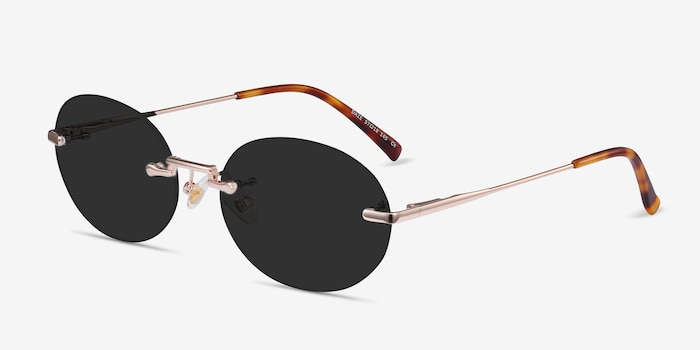 Daze Rose Gold Metal Sunglass Frames from EyeBuyDirect, Angle View