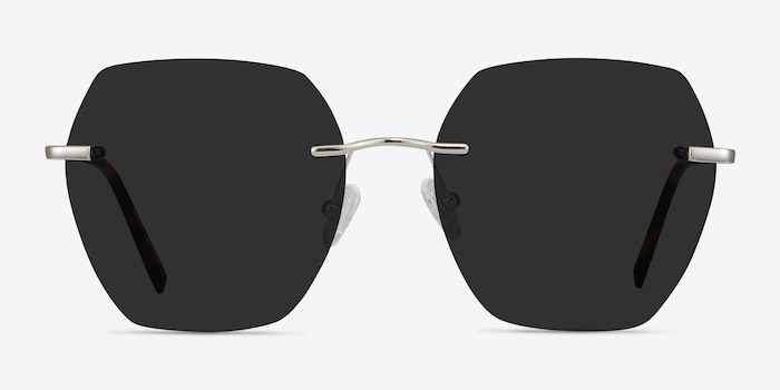 Genoa Silver Metal Sunglass Frames from EyeBuyDirect, Front View