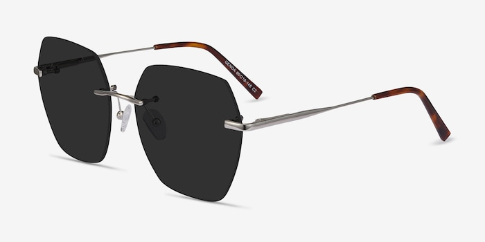 Genoa Silver Metal Sunglass Frames from EyeBuyDirect, Angle View