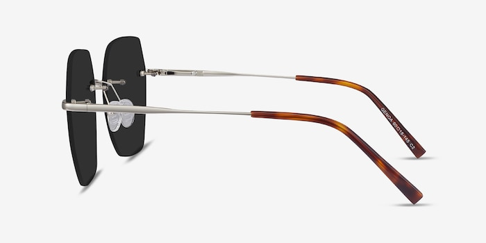 Genoa Silver Metal Sunglass Frames from EyeBuyDirect, Side View