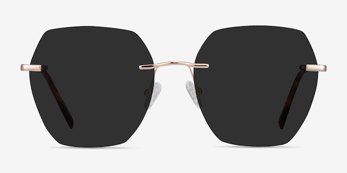 Genoa Rose Gold Metal Sunglass Frames from EyeBuyDirect, Front View