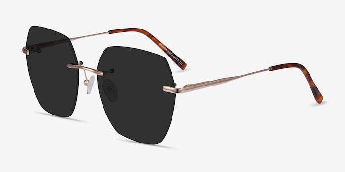 Genoa Rose Gold Metal Sunglass Frames from EyeBuyDirect, Angle View