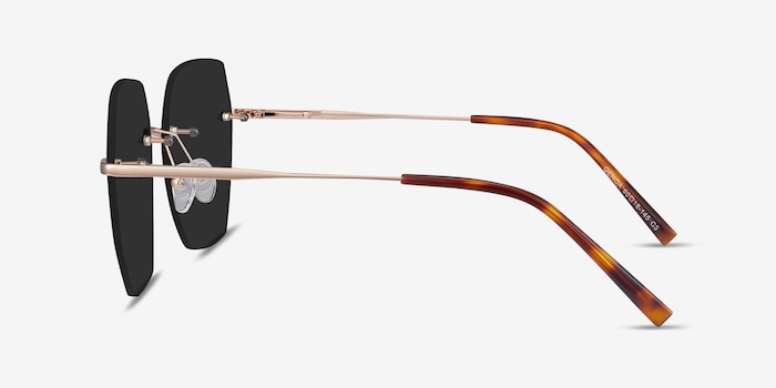 Genoa Rose Gold Metal Sunglass Frames from EyeBuyDirect, Side View