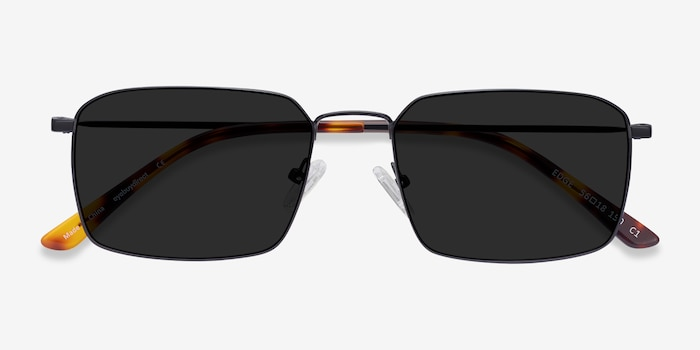 Edge Black Metal Sunglass Frames from EyeBuyDirect, Closed View