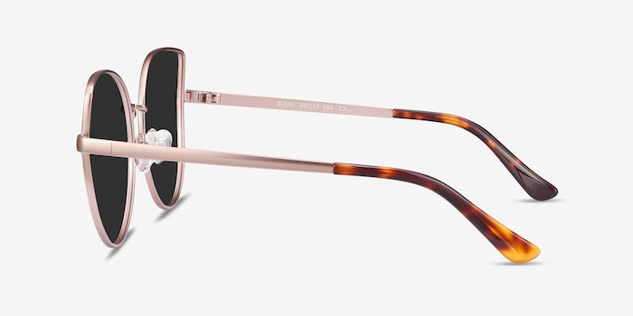 Bless Rose Gold Metal Sunglass Frames from EyeBuyDirect, Side View