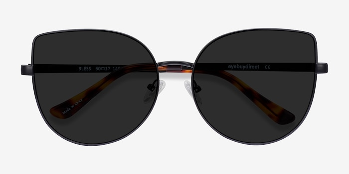 Bless Black Metal Sunglass Frames from EyeBuyDirect, Closed View