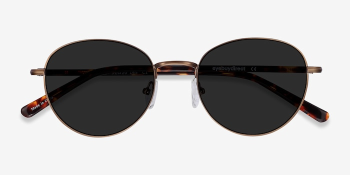Span Bronze Acetate-metal Sunglass Frames from EyeBuyDirect, Closed View