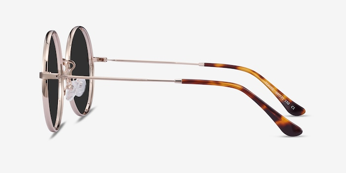 Teavee Gold Metal Sunglass Frames from EyeBuyDirect, Side View
