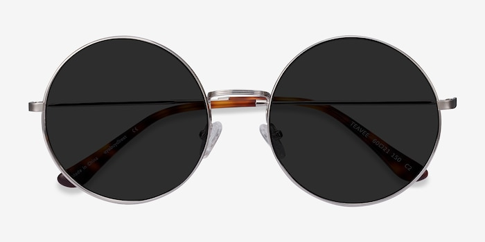 Teavee Silver Metal Sunglass Frames from EyeBuyDirect, Closed View