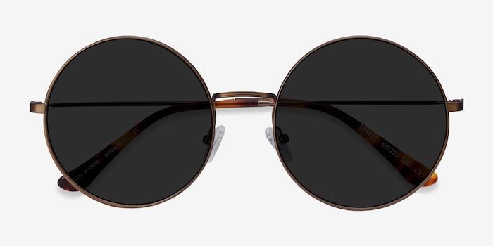 Teavee Bronze Metal Sunglass Frames from EyeBuyDirect, Closed View