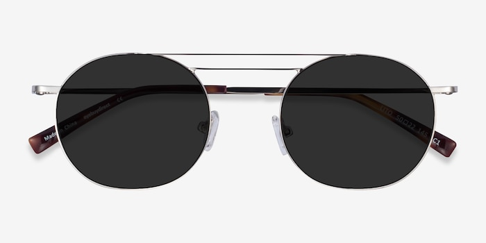 Lito Silver Metal Sunglass Frames from EyeBuyDirect, Closed View