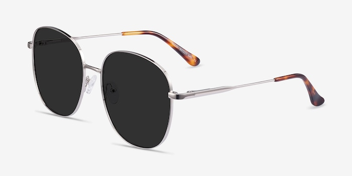 Ellis Silver Metal Sunglass Frames from EyeBuyDirect, Angle View