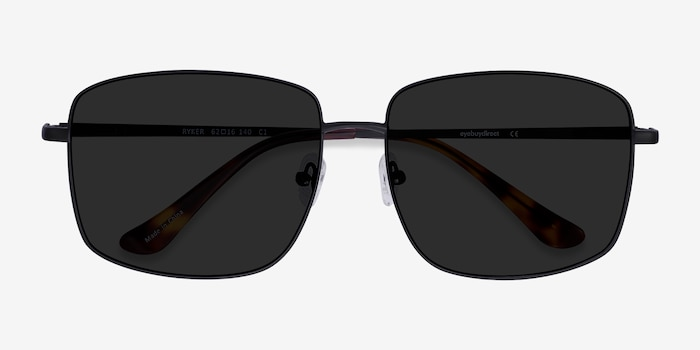 Ryker Black Metal Sunglass Frames from EyeBuyDirect, Closed View