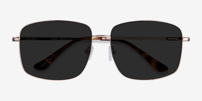 Ryker Gold Metal Sunglass Frames from EyeBuyDirect, Closed View