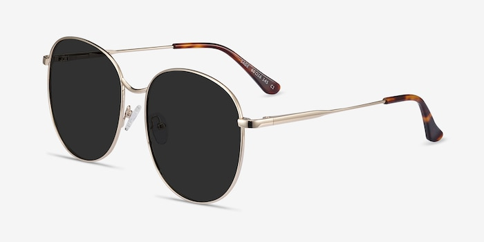 Sage Gold Metal Sunglass Frames from EyeBuyDirect, Angle View