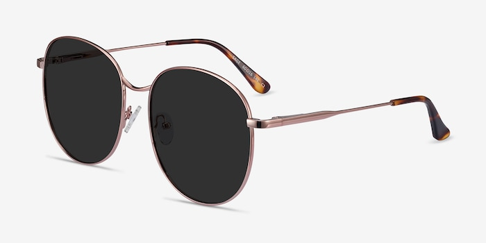 Sage Rose Gold Metal Sunglass Frames from EyeBuyDirect, Angle View