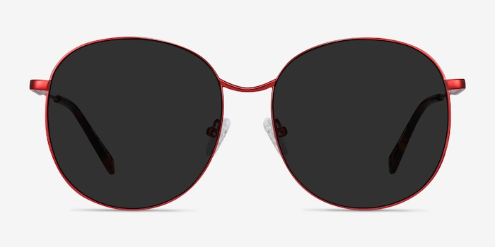 Sage Red Metal Sunglass Frames from EyeBuyDirect, Front View