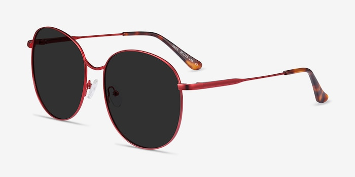 Sage Red Metal Sunglass Frames from EyeBuyDirect, Angle View