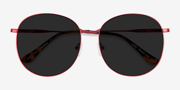 Sage Red Metal Sunglass Frames from EyeBuyDirect, Closed View