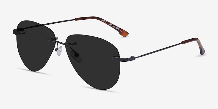 Locket Black Metal Sunglass Frames from EyeBuyDirect, Angle View