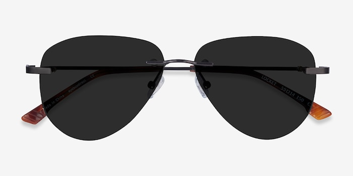 Locket Black Metal Sunglass Frames from EyeBuyDirect, Closed View