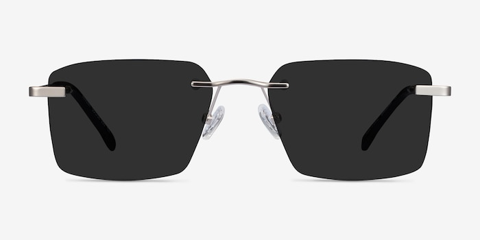 Invent Matte Silver Metal Sunglass Frames from EyeBuyDirect, Front View