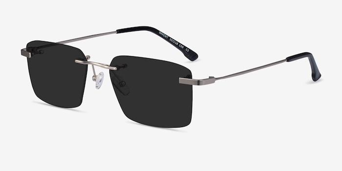 Invent Matte Silver Metal Sunglass Frames from EyeBuyDirect, Angle View