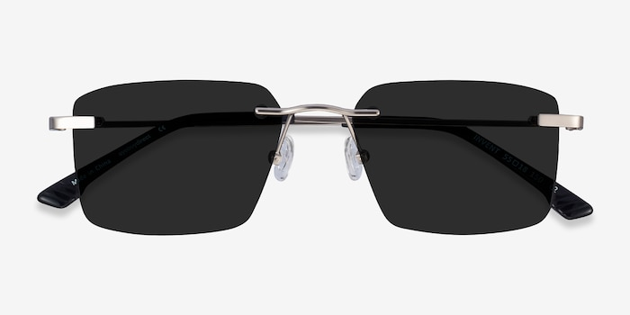 Invent Matte Silver Metal Sunglass Frames from EyeBuyDirect, Closed View