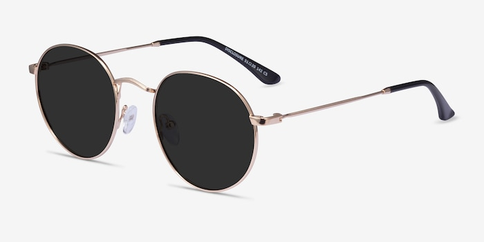 Disclosure Gold Metal Sunglass Frames from EyeBuyDirect, Angle View