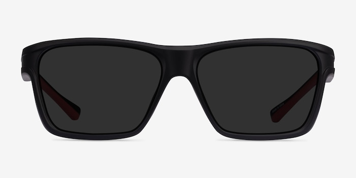 Win Black & Red Plastic Sunglass Frames from EyeBuyDirect, Front View